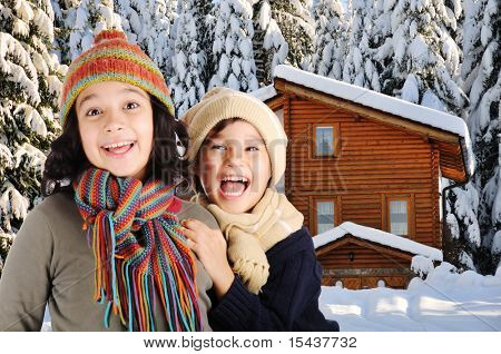 Children, winter scene