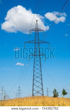 Power Lines. Pylon And Transmission Power Line. High Voltage Lines And Power Pylons.