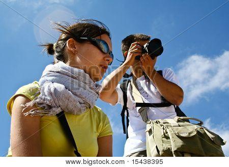 Tourists In Desert. Jordan