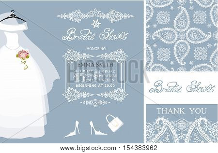 Bridal shower invitation set.Bridal wedding dress, paisley lace seamless pattern.Winter season decoration, lettering, retro design template. Save the date, thank you card.Holiday Vector, fashion illustration