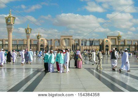 Medina,Saudi Arabia-Nov 5,2008:Pilgrims at the Nabawi Mosque at Medina,Saudi Arabia.Nabawi mosque originally built by the Islamic prophet Muhammad,situated in the city of Medina in Saudi Arabia.