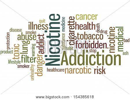 Nicotine Addiction, Word Cloud Concept