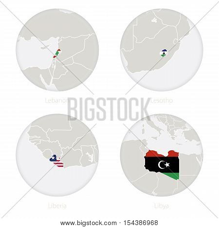 Lebanon, Lesotho, Liberia, Libya map contour and national flag in a circle. Vector Illustration.