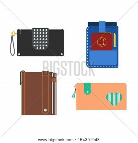 Purse wallets for money and credit cards vector icon for shopping. vector.