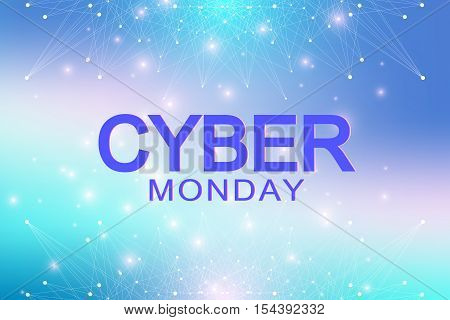 Cyber Monday Sale background. Promotional banner design. Graphic abstract background communication