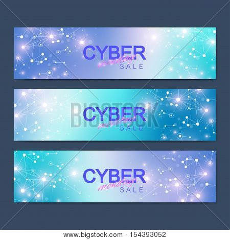Cyber Monday Sale banner design. Graphic abstract background communication. Vector illustration