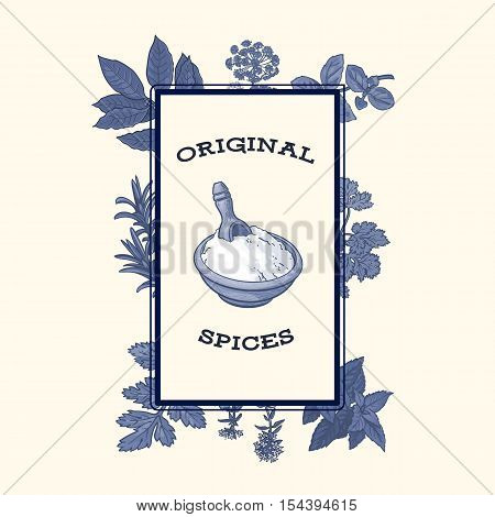 Banner, poster design with bowl of flour framed by monochrome spices and herbs, sketch style vector illustration. Banner template with hand drawn frame herbs and spices and bowl of flour