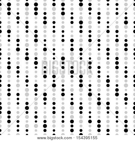 Seamless Circle Pattern. Vector Black and White Dot Background. Fine Print Texture