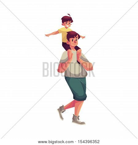 Little boy sitting on his father shoulders and pretending a plane, cartoon vector illustrations isolated on white background. Dad carrying his little son on his shoulders, happy family concept