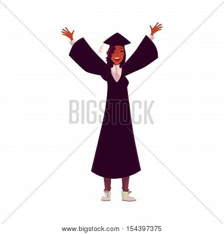 Happy female African student in traditional cap and gown celebrating successful graduation, cartoon style illustration isolated on background. Pretty girl in academic dress graduating from University