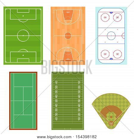 Fields Set for Sport Games Isometric View. Vector illustration