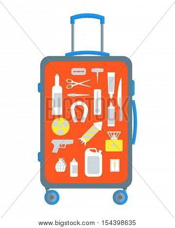 Restricted Items Set in the Suitcase Flat Design Style. Vector illustration