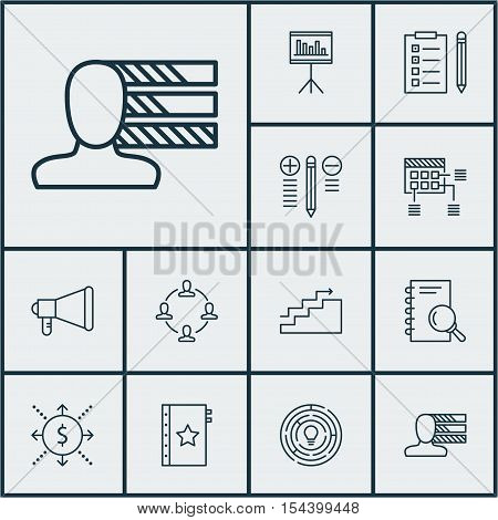 Set Of Project Management Icons On Schedule, Announcement And Analysis Topics. Editable Vector Illus