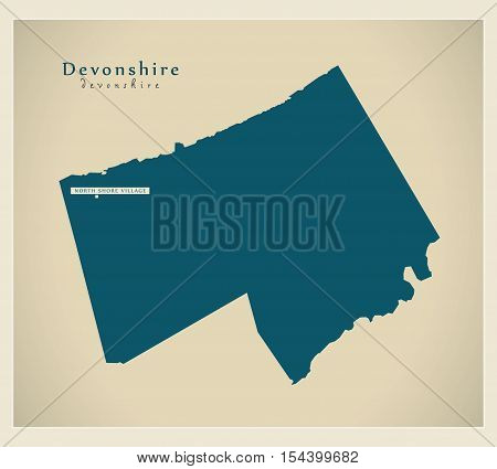 Modern Map - Devonshire BM Bermuda illustration vector