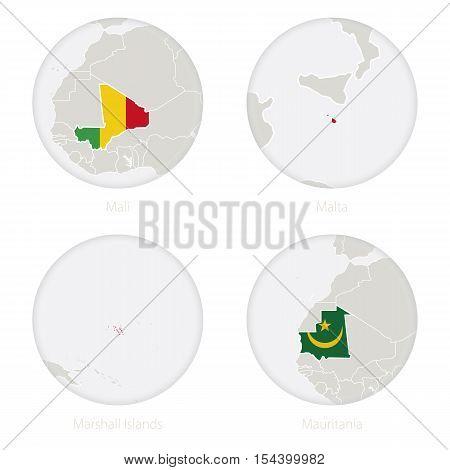 Mali, Malta, Marshall Islands, Mauritania map contour and national flag in a circle. Vector Illustration.