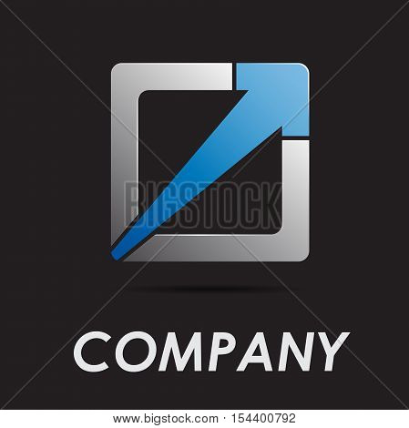 Vector logo abstract geometric shape with arrow
