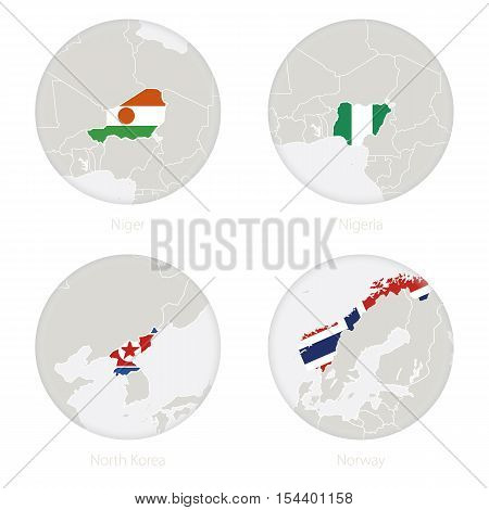 Niger, Nigeria, North Korea, Norway map contour and national flag in a circle. Vector Illustration.