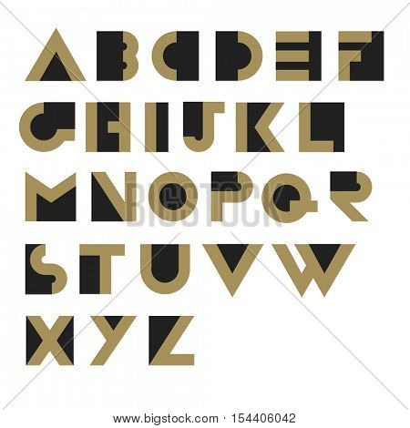 Geometric Retro Alphabet.  Art deco style. Type, font, vintage vector typography