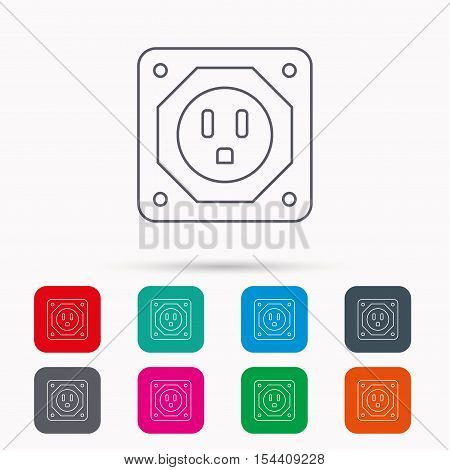 USA socket icon. Electricity power adapter sign. Linear icons in squares on white background. Flat web symbols. Vector