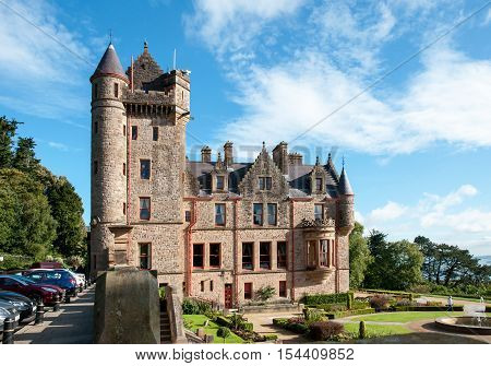 BELFAST, NORTHERN IRELND, UK - SEPTEMBER 30, 2016: Belfast castle. Tourist attraction on the slopes of Cavehill Country Park in Belfast Northern Ireland