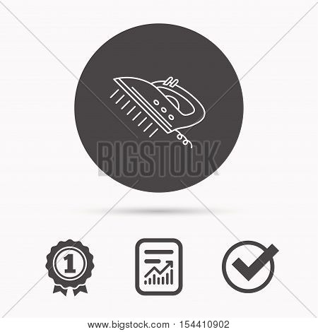 Steam ironing icon. Iron housework tool sign. Report document, winner award and tick. Round circle button with icon. Vector