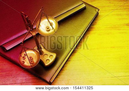 Mechanical Golden Weight Scale, Also Laboratory Balance, Balance Scale, Or Beam Balance
