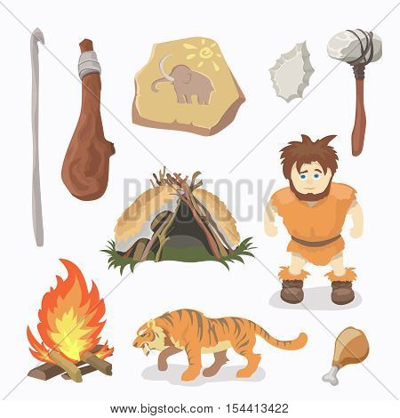 Stone age icons Primitive man. Neanderthals or CRO-magnon race Homo sapiens Paleolithic.
