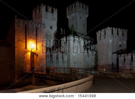 The Scaliger Castle, Sirmione, Italy, At Night