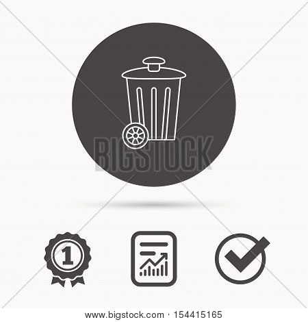 Recycle bin icon. Trash container sign. Street rubbish symbol. Report document, winner award and tick. Round circle button with icon. Vector