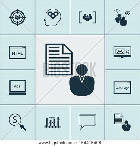 Set Of Advertising Icons On Questionnaire, Digital Media And Keyword Optimisation Topics. Editable V