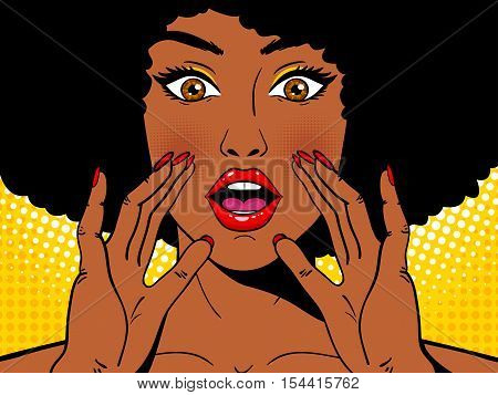 Wow Pop Art Face. Sexy Surprised African Woman Holding Her Hands Open Mouth And Screaming. Vector Co