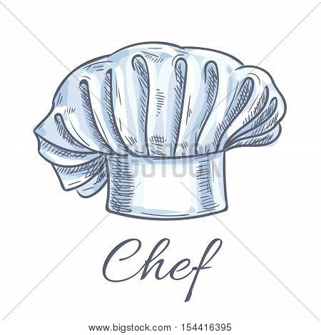 Chef hat icon. Traditional chef cook hat with folds. Vector isolated doodle sketch toque decoration emblem for cafe, restaurant, bakery, patisserie