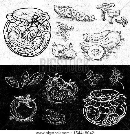 Set of chalk hand drawn, in sketch style, food and spices, black and white chalkboard background. Pickles in the jar, dill, cucumber, tomato, garlic, bay leaf. Hand drawn vector illustration.