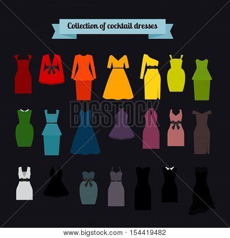 Collection of cocktail colorful dresses, vector icons set