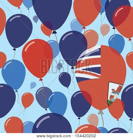 Bermuda National Day Flat Seamless Pattern. Flying Celebration Balloons In Colors Of Bermudian Flag.