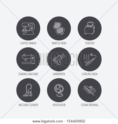 Coffee maker, sewing machine and toaster icons. Ventilator, vacuum cleaner linear signs. Hair dryer, steam ironing and waffle-iron icons. Linear icons in circle buttons. Flat web symbols. Vector