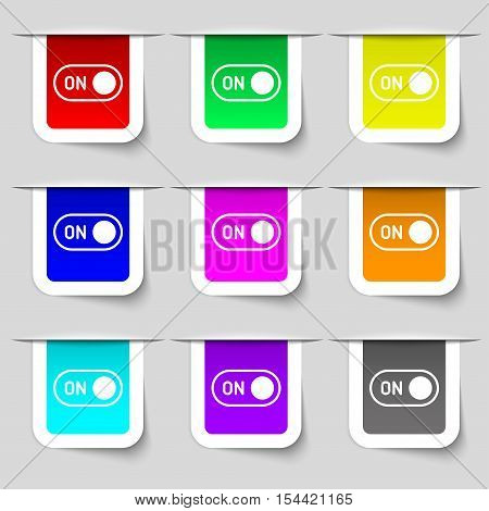 Start Icon Sign. Set Of Multicolored Modern Labels For Your Design. Vector