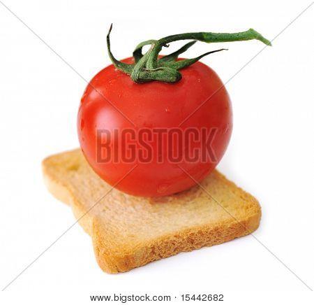 Tomato on slice of bread isolated, toast, vegetarian, vegetable, cereal