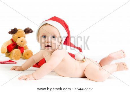 Sweet Baby With Christmas Cap