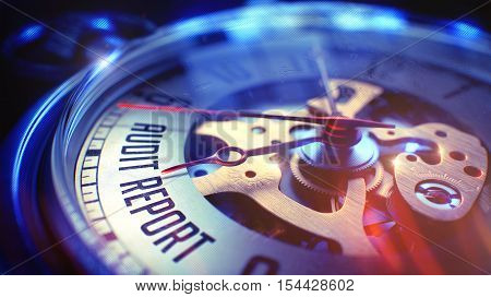 Audit Report. on Vintage Pocket Clock Face with Close View of Watch Mechanism. Time Concept. Film Effect. 3D Illustration.