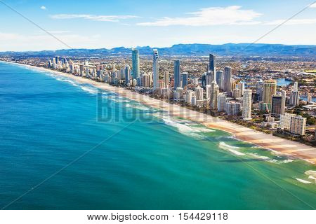 Aerial view of Surfers Paradise on the Gold Coast, Queensland, Australia