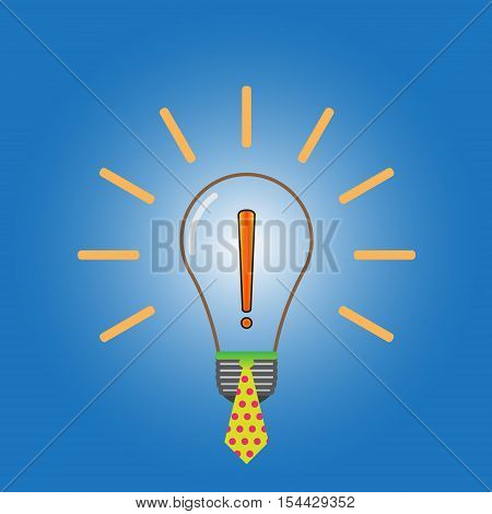 Lightbulb vector icon with tie sign. Exclamation point vector sign. Bulb vector image. Exclamation mark vector illustration. Tie vector sign.