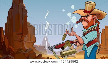 cartoon frowning man in a hat shot from a gun in a stone canyon
