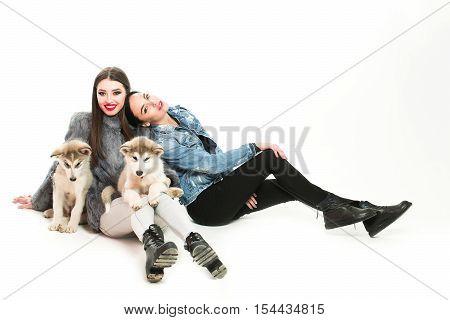Girls In Denim With Husky