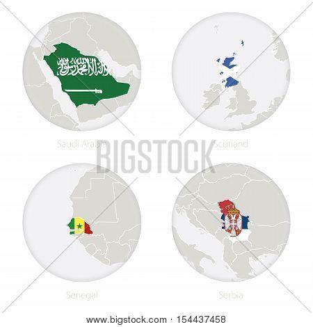 Saudi Arabia, Scotland, Senegal, Serbia map contour and national flag in a circle. Vector Illustration.