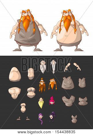 Set of vector interchangeable cartoon dwarf character body parts. Head body and clohtes.