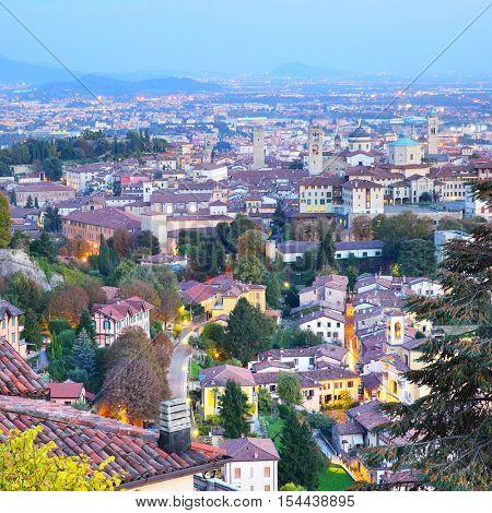 Panoramic view of Bergamo, Italy