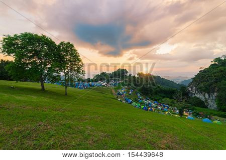 Sunset scence of the front of camp in Doi Samer Dao Nan Province Thailand. Point of view point of Si Nan National Park. Perfect for relaxing view of the sunrise and sunset views in the same area.