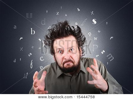 Conceptual photo of furious mad man with hair standing up, angry for ignorance and illiteracy