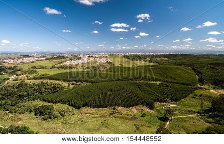 Aerial View of Countryside of Sao Paulo and Eucalyptus Forest, Brazil